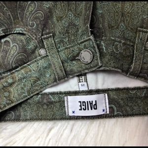 Paige Green Floral Paisley Skinny Jeans